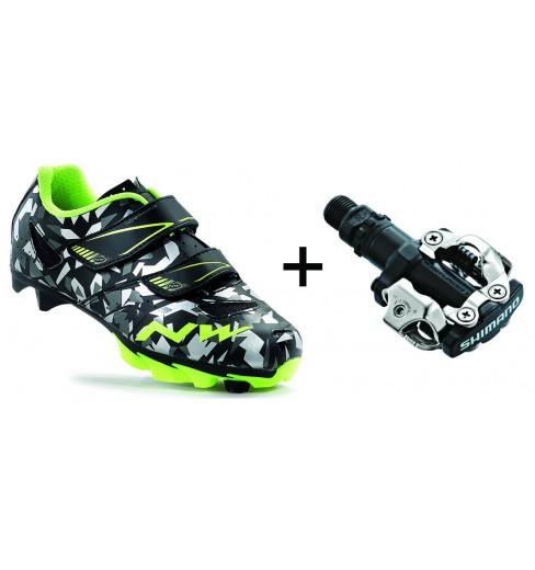 NORTHWAVE chaussures VTT junior Hammer Camo + pédales Shimano M520