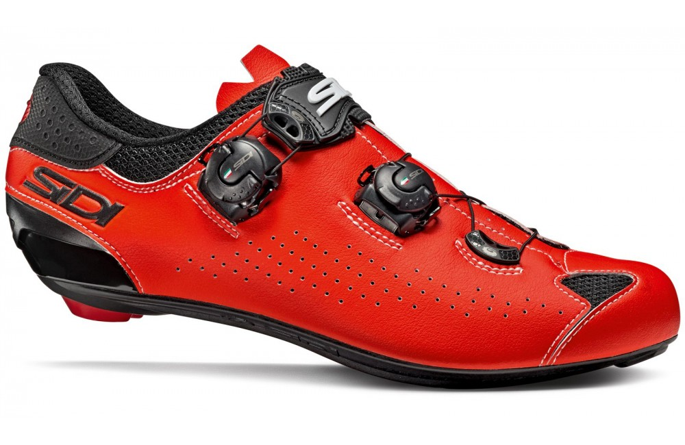 red fluo road cycling shoes 2019