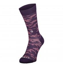 SCOTT Dark Purple Trail Camo Crew cycling socks 2022